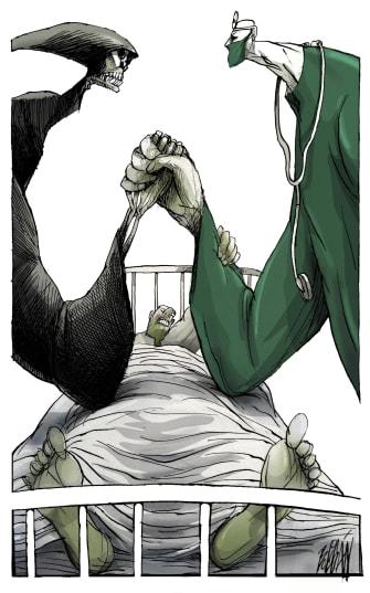 Editorial Cartoon World COVID-19 Coronavirus Reaper healthcare workers patients arm wrestle