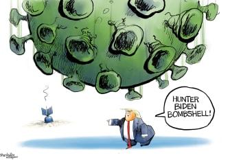 Political Cartoon U.S. Trump COVID Hunter Biden