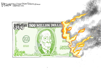 Political Cartoon U.S. Tom Steyer DNC democratic primaries delegates campaign finance dropout