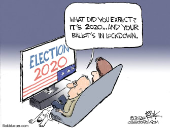 Editorial Cartoon U.S. 2020 ballot lockdown