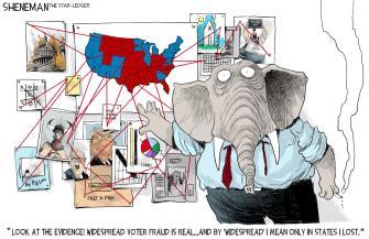 Political Cartoon U.S. gop trump conspiracies
