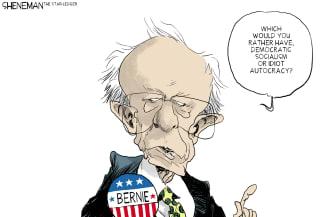 Political Cartoon U.S. Bernie 2020 election Trump democracy autocracy