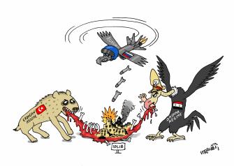 Political Cartoon World Syria Idlib Putin Bashar Al-Assad Kurds air raid war carcass