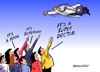 Editorial Cartoon World Super doctor superman hero