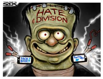 Editorial Cartoon U.S. division social media Frankenstein