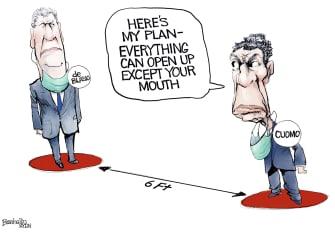 Political Cartoon U.S. cuomo de blasio covid reopening