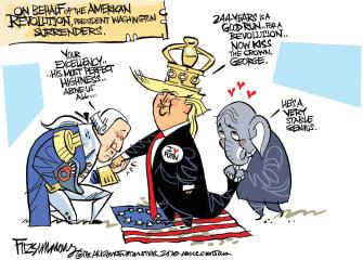 Political Cartoons U.S. King Trump Washington GOP bow down