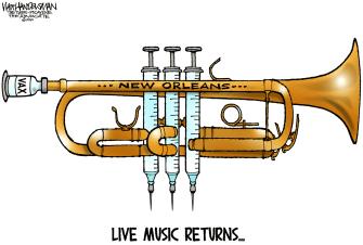 Editorial Cartoon U.S. new orleans music covid vaccine