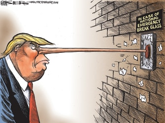 Political cartoon U.S. Trump wall government shutdown