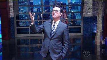 Stephen Colbert asks God if he could triumph over Donald Trump
