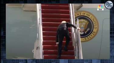 Biden trips upstairs