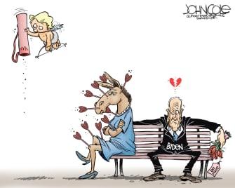 Political Cartoon U.S. Joe Biden DNC Valentines Day Cupid arrows no love donkey