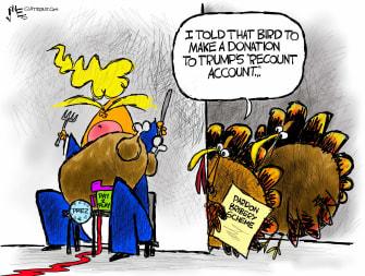 Political Cartoon U.S. Trump Turkey pardon