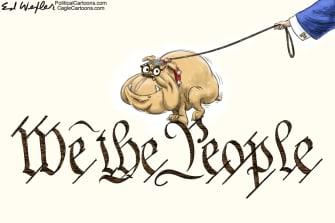 Political Cartoon U.S. Barr Trump Constitution DOJ