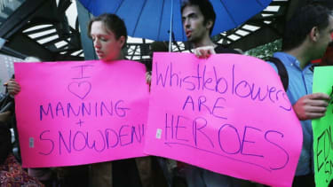 Supporters gather at a small rally in support of Edward Snowden in Manhattan's Union Square on June 10.