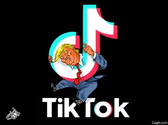 Political Cartoon U.S. Trump TikTok