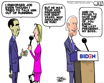 Political Cartoon U.S. Barack endorses Biden despite apprehension