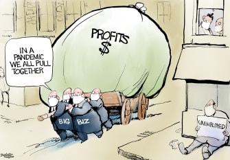 Editorial Cartoon U.S. big business COVID profits