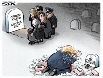 Political Cartoon U.S. Trump Capitol riot police officer twitter ban