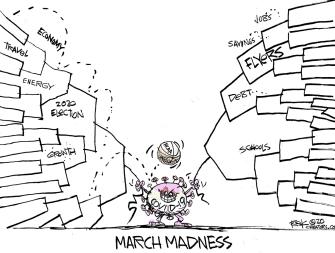 Cartoon U.S. March Madness bracket debt 2020 election NCAA canceled coronavirus