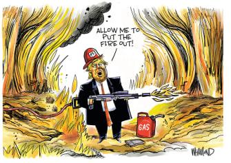 Political Cartoon U.S. Trump Minneapolis flames gas