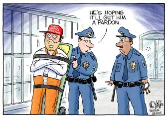 Political Cartoon U.S. criminals pardon MAGA Trump Hannibal Lecter