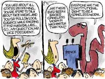 Political Cartoon U.S. Mike Pence coronavirus