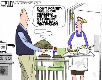 Editorial cartoon U.S. Thanksgiving dinner food set scale back ten pounds