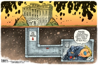 Political Cartoon U.S. Trump bunker social distancing George Floyd protests