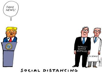 Political Cartoon U.S. Trump fake news social distancing Fauci intelligence agency coronavirus