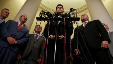 U.S. House Speaker Paul Ryan speaks on Capitol Hill.