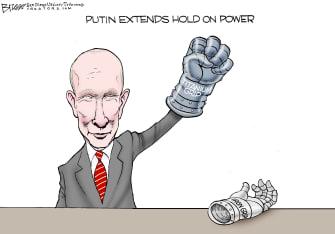 Political Cartoon U.S. Putin Russia power grab