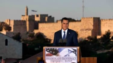 """Mitt Romney delivers a speech outside the Old City in Jerusalem on July 29: During his speech Romney upset Palestinians by saying that he recognizes """"the power of culture and a few other thin"""