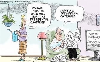 Political Cartoon U.S. presidential campaign forgotten Biden Sanders Trump