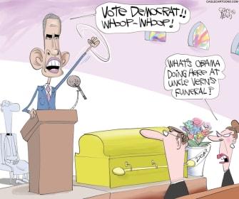 Political Cartoon U.S. Obama John Lewis funeral