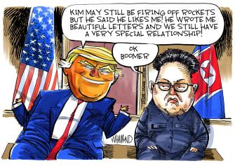 Political Cartoon U.S. Trump Kim Jong Un Ok Boomer