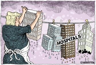 Political Cartoon U.S. Hospitals hang to dry Trump no medical supplies