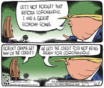 Political Cartoon U.S. Trump Barack Obama Coronavirus economy credit reporters