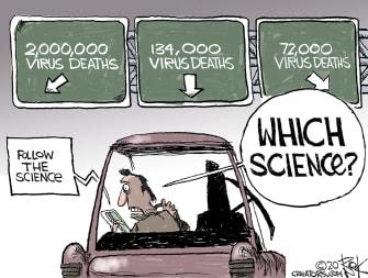 Editorial Cartoon U.S. science coronavirus deaths