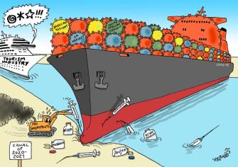 Editorial Cartoon U.S. suez canal tourism covid
