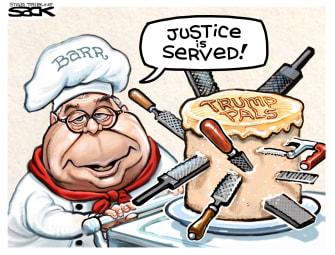 Political Cartoon U.S. Trump William Barr DOJ cake knives saws