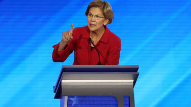 Warren tries to get a word in.