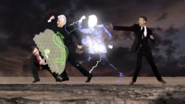 In this mock video game, President Obama uses his secret weapon, Bill Clinton, but Mitt Romney wards him off with his money shield.