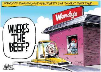 Editorial Cartoon U.S. Wendys beef shortage coronavirus