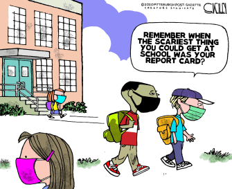 Editorial Cartoon U.S. back to school covid