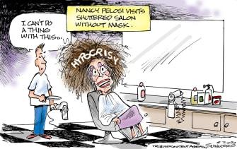 Political Cartoon U.S. Nancy Pelosi salon hypocrisy