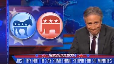 Jon Stewart mocks the bipartisan fear and self-loathing in the 2014 midterm debates
