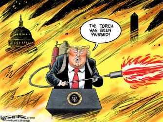 Political Cartoon U.S. Trump loss torch passed