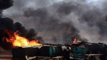 Tanker trucks burn
