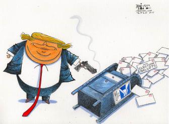 Political Cartoon U.S. Trump USPS mail in vote